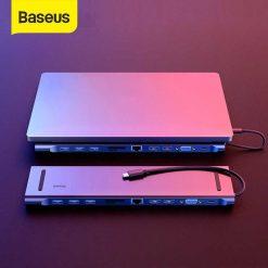 Cong Chuyen Da Nang Baseus Usb Hub Type C 11 In 1 Usb 3.0 Hdmi Tf Sd Rj45 Vga Pd Macbook 08